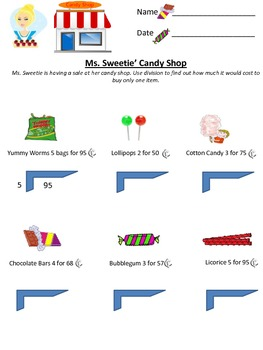 Ms. Sweeties Candy Shop Sale Long Division multi digit 2 digit 3.OA.C.7
