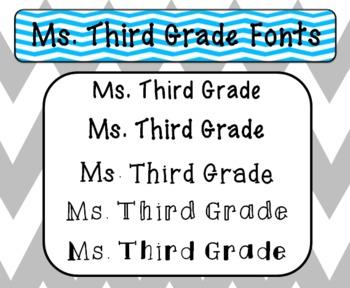 Ms. Third Grade Fonts FREEBIE