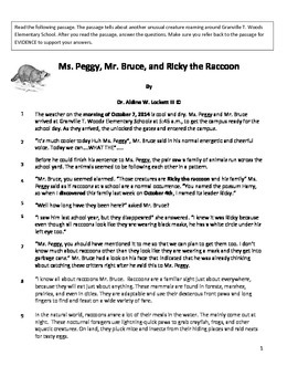 Ms_Peggy_Mr_Bruce_&_Ricky the Racoon Reading Comprehension