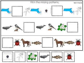 Massachusetts State Symbols themed Fill In the Missing Pattern Game.