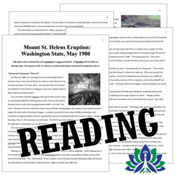 Mt. St. Helens Volcano Reading & Questions Worksheet Activity NGSS