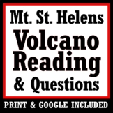 Mt. St. Helens Volcano Reading Article & Questions Worksheet Activity NGSS