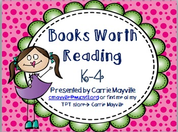 Mt. Vernon Teacher Conference - Books Worth Reading in K-4 Activities