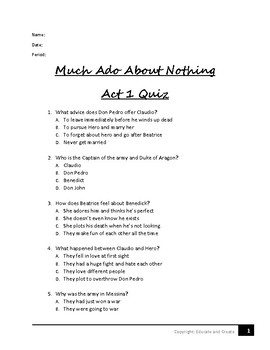 Much Ado About Nothing Act 1 Quiz