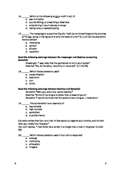 Much Ado About Nothing- Act 1 Quiz and Answer Key