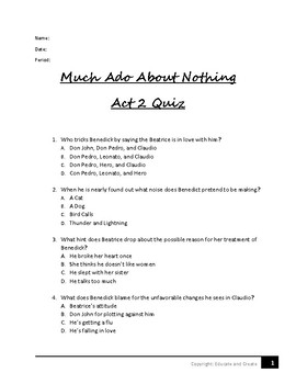 Much Ado About Nothing Act 2 Quiz