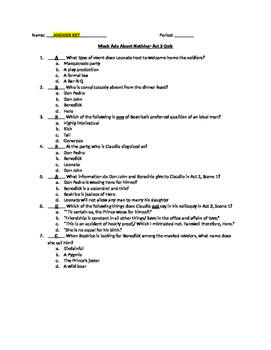 Much Ado About Nothing- Act 2 Quiz and Answer Key