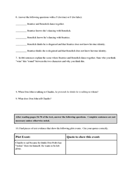 Much Ado About Nothing Act 2, Scene 1 Close Reading Guide (No Fear Shakespeare)
