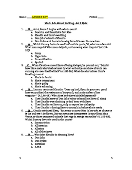 Much Ado About Nothing- Act 4 Quiz and Answer Key