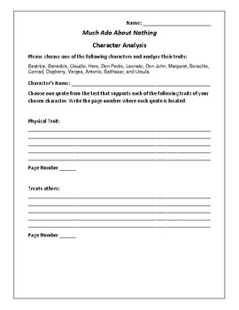 Much Ado About Nothing - Character Analysis Activity - William Shakespeare