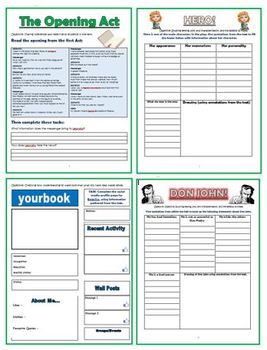 Much Ado About Nothing Comprehension Activities Booklet!