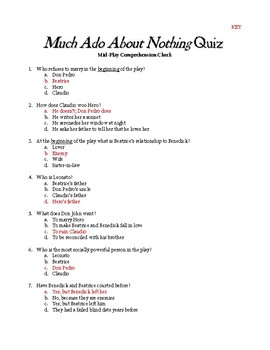 Much Ado About Nothing Mid-Play Comprehension Quiz