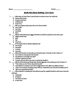 Much Ado About Nothing- Quizzes and Answer Keys on All 5 Acts