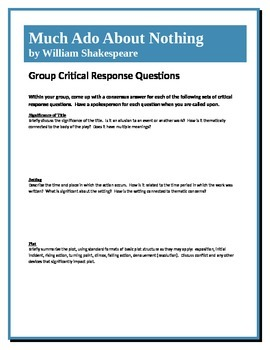 Much Ado About Nothing - Shakespeare - Group Critical Resp
