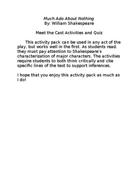Much Ado About Nothing by William Shakespeare - Character Bundle