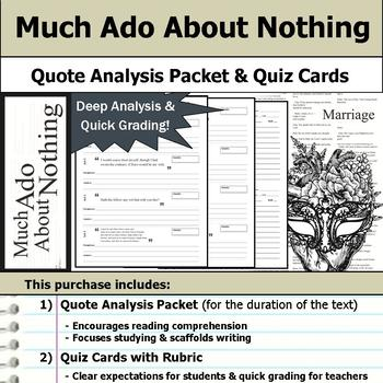 Much Ado About Nothing by William Shakespeare - Quote Analysis & Reading Quizzes