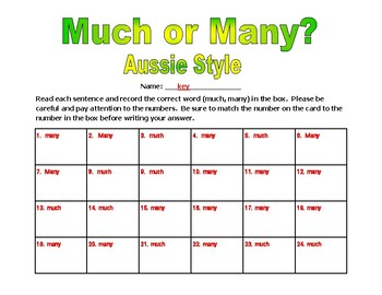 Much or Many Aussie Style