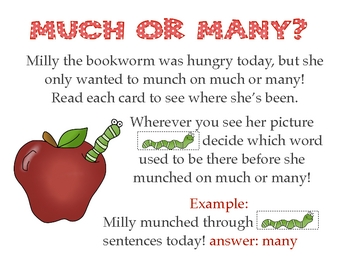 Much or Many? Literacy/word work center