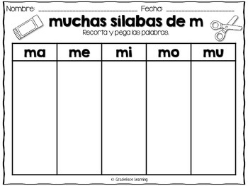 Muchas sílabas – Spanish phonics activities for ma, me, mi, mo, mu