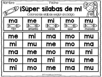 Muchas sílabas – Spanish phonics activities for ma, me, mi, mo, mu