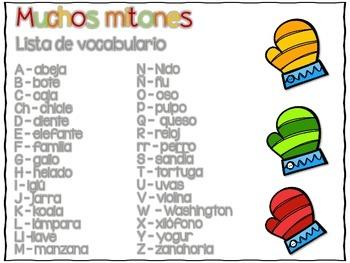 Muchos mitones - A Spanish Alphabet Center - Freebie!