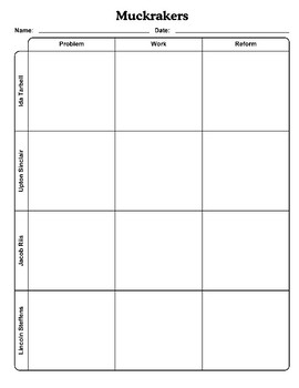 Muckrakers Graphic Organizer with Answer Key