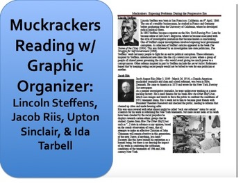 muckrakers reading and graphic organizer progressive era activity. Black Bedroom Furniture Sets. Home Design Ideas