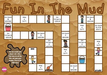 Mud Day Themed Game Board