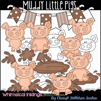 Muddy Little Pigs Clipart Collection