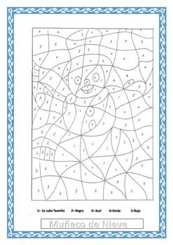 Winter-Muñeco de Nieve- Snowman - Color by Number-Spanish