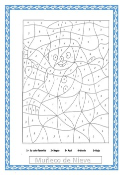 Winter-Muñeco de Nieve- Snowman - Color by Number-Spanish