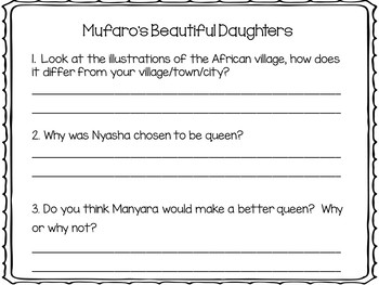 Mufaro's Beautiful Daughters ~ 26 pgs. Common Core Activities