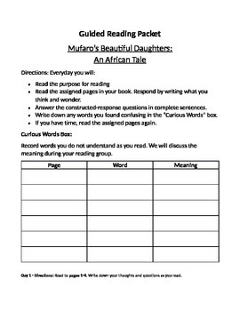 Mufaro's Beautiful Daughters Guided Reading Comprehension Packet