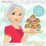 Muffin Lady 001- Personal and Commercial Use Character Graphic