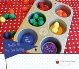 Muffin Tin Pom Pom Color Sorting Activity