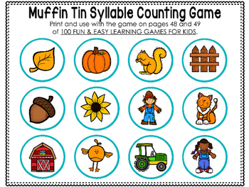 photo relating to Printable Game Pieces referred to as Muffin Tin Syllable Activity Printables