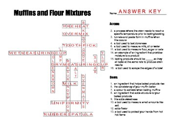 Muffin and Flour Mixtures CROSSWORD