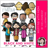 Muffins with Mom clip art - BLACK AND WHITE- by Melonheadz