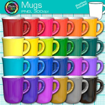 Rainbow Coffee Mug Clip Art {Photorealistic Graphics for Classroom Resources}