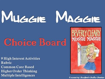 Muggie Maggie Choice Board Novel Study Activities Menu Book Project Rubric