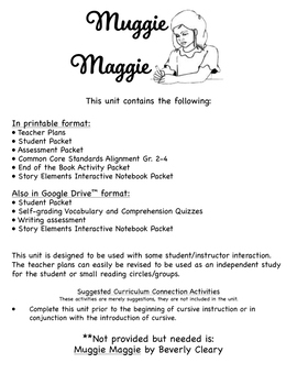 Muggie Maggie Novel Study Book Unit