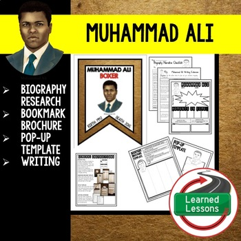 Muhammad Ali Biography Research, Bookmark Brochure, Pop-Up