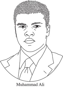 Muhammad Ali Realistic Clip Art, Coloring Page and Poster