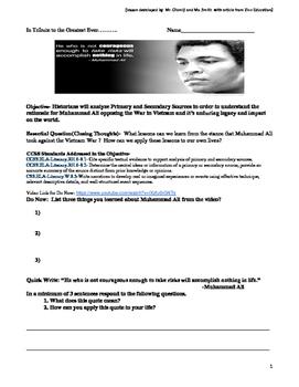 Muhammad Ali Tribute Lesson Version B