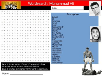 Muhammad Ali Wordsearch Black History Month Keywords Settler Homework Cover