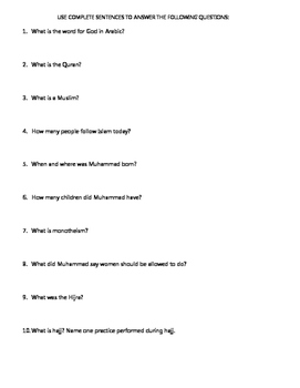 Islam: Muhammad Reading and Questions with Annotation Directions