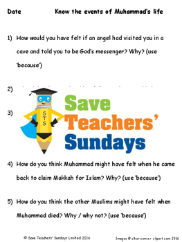 Muhammad's Life Lesson plan and Worksheets