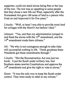 Muhammed Ali and the Civil War and Reconstruction Presidents - A Play