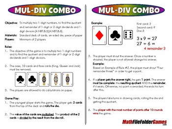 Mul-Div Combo - 4th Grade Math Game [CCSS 4.NBT.B.5][CCSS