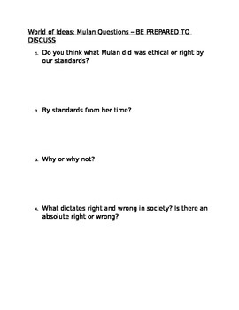 Mulan Movie Questions for Ethics Unit